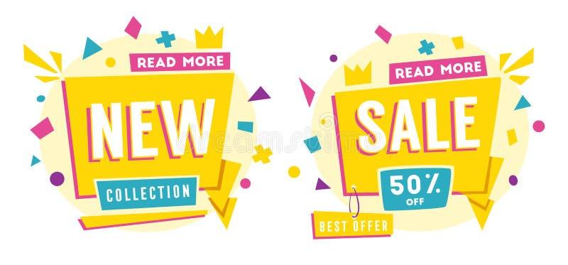 Bannières de vente Style lumineux et rétro Illustration de vecteur de dessin animé illustration de vecteur