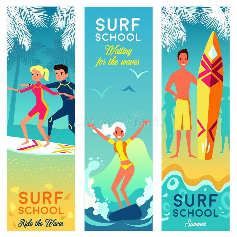 Bannières de verticale d'école de ressac illustration stock