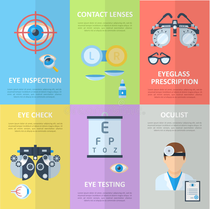 Bannières de verticale d'ophtalmologue ou d'oculiste illustration de vecteur