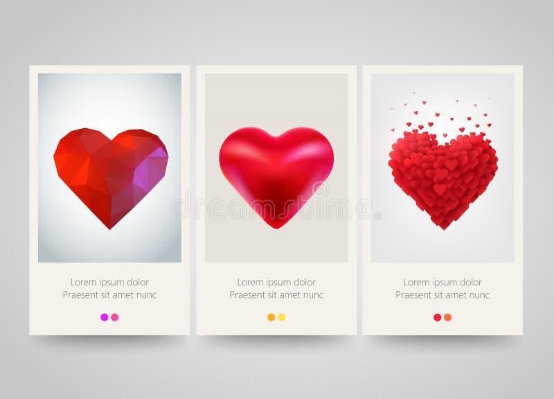 Bannières de verticale de coeur de jour de valentines Amour, relations, épousant le concept Conception d'affiche, d'insecte ou de illustration stock