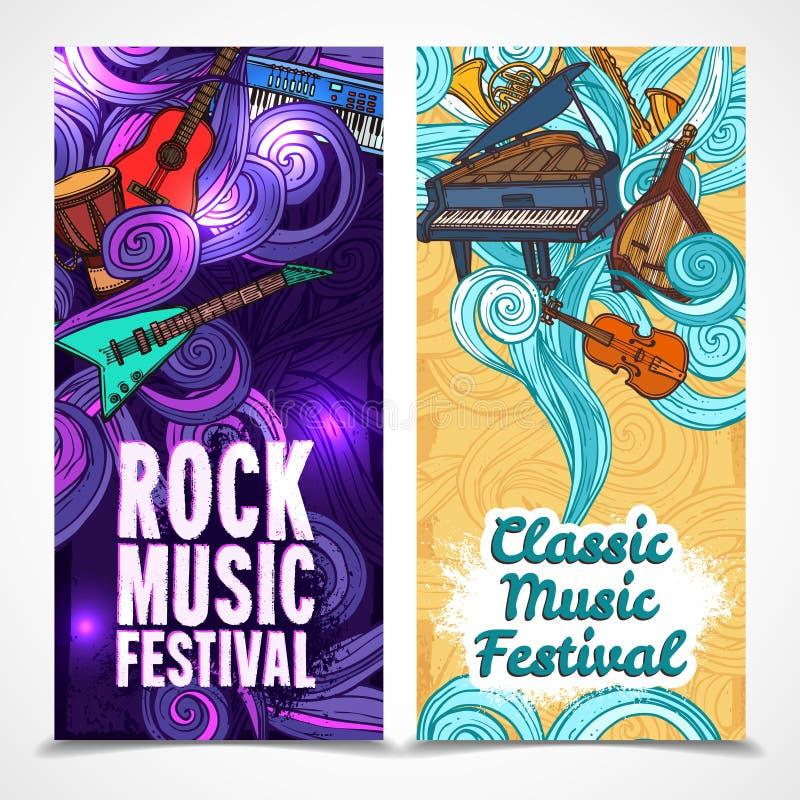 Bannières de verticale de musique illustration libre de droits