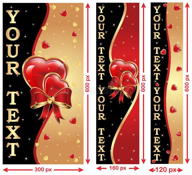 Bannières de Web d'amour/Saint-Valentin illustration libre de droits