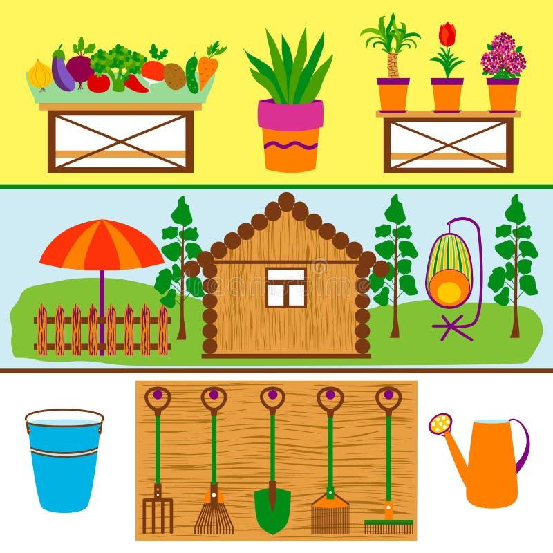 Bannières de Web d'outils et de légumes de jardinage images stock