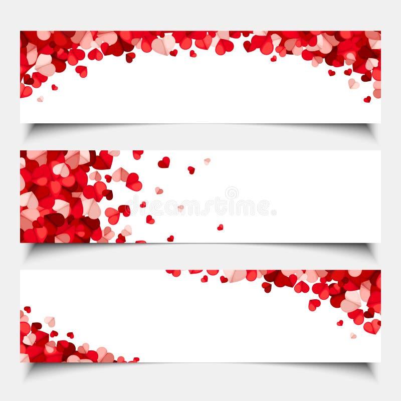 Bannières de Web de jour du ` s de Valentine avec les coeurs rouges et roses Vecteur EPS-10 illustration stock