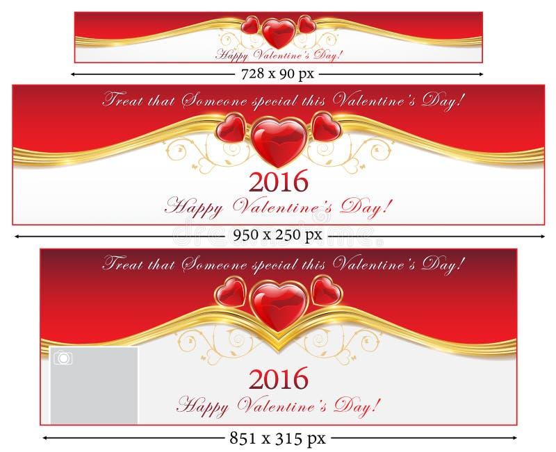 Bannières de Web de Saint-Valentin illustration libre de droits