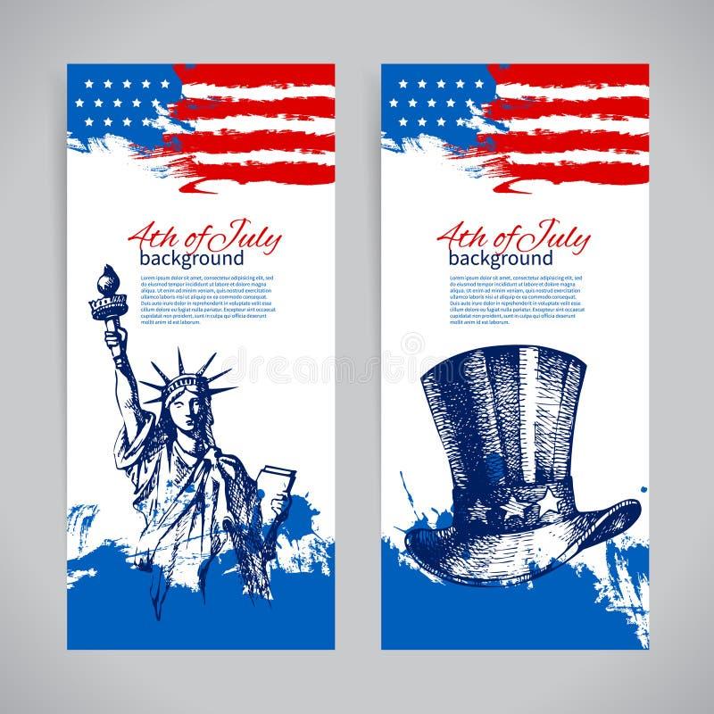Bannières des milieux du 4 juillet avec le drapeau américain illustration libre de droits