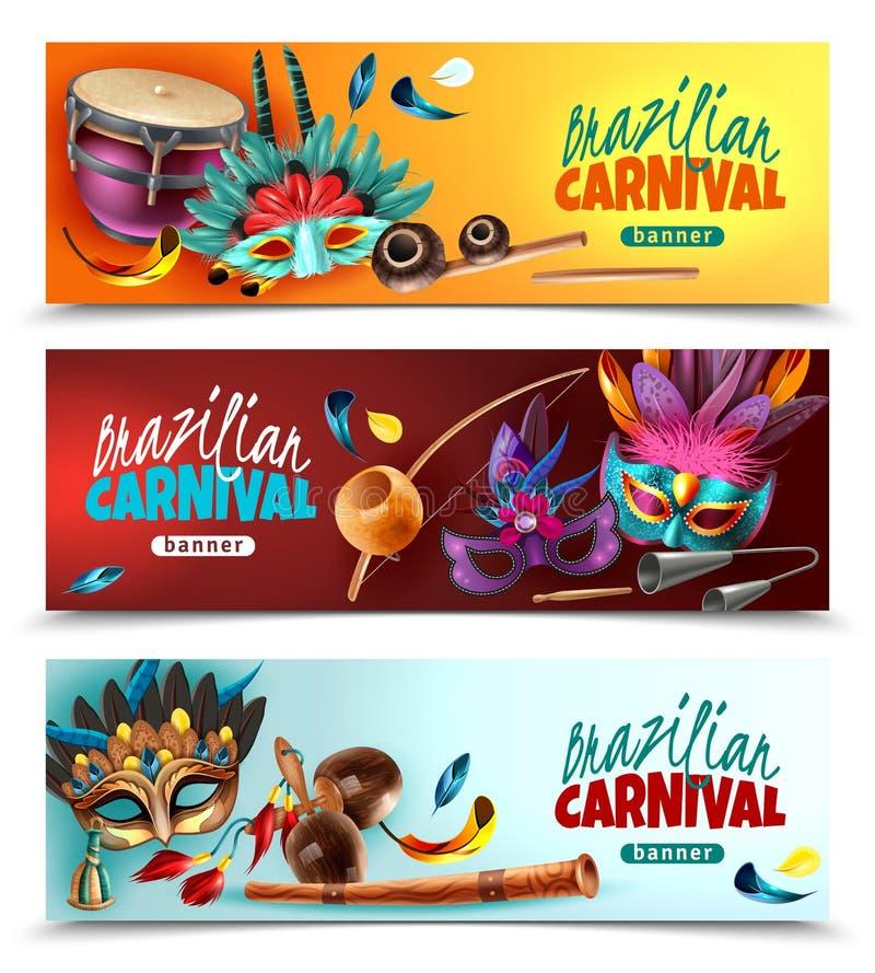 Bannières du Brésil Carnaval réglées illustration stock