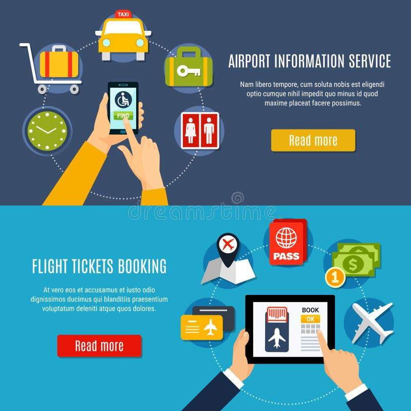Bannières en ligne d'appartement service compris d'aéroport illustration libre de droits