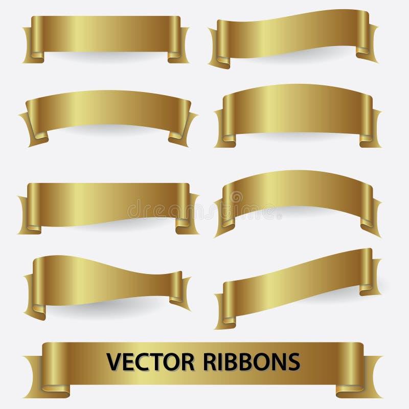Bannières eps10 de ruban d'or illustration stock