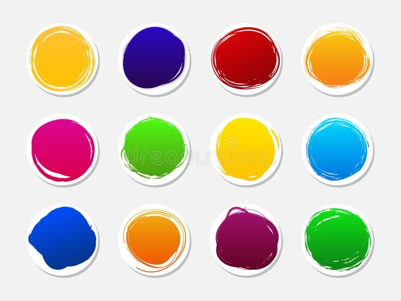 Bannières et autocollant Ensemble de taches rondes multicolores Cercles tirés par la main de griffonnage Pays de rappe de couleur illustration de vecteur