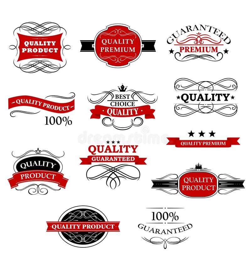 Bannières et labels de haute qualité de produit illustration de vecteur