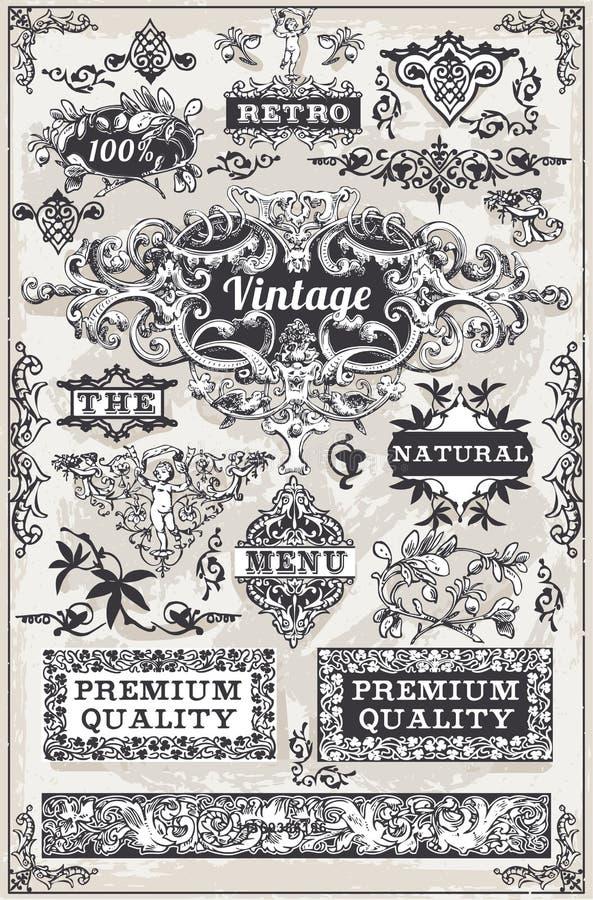 Bannières et labels graphiques tirés par la main de vintage illustration de vecteur