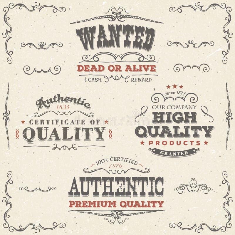 Bannières et labels tirés par la main de qualité de vintage illustration libre de droits