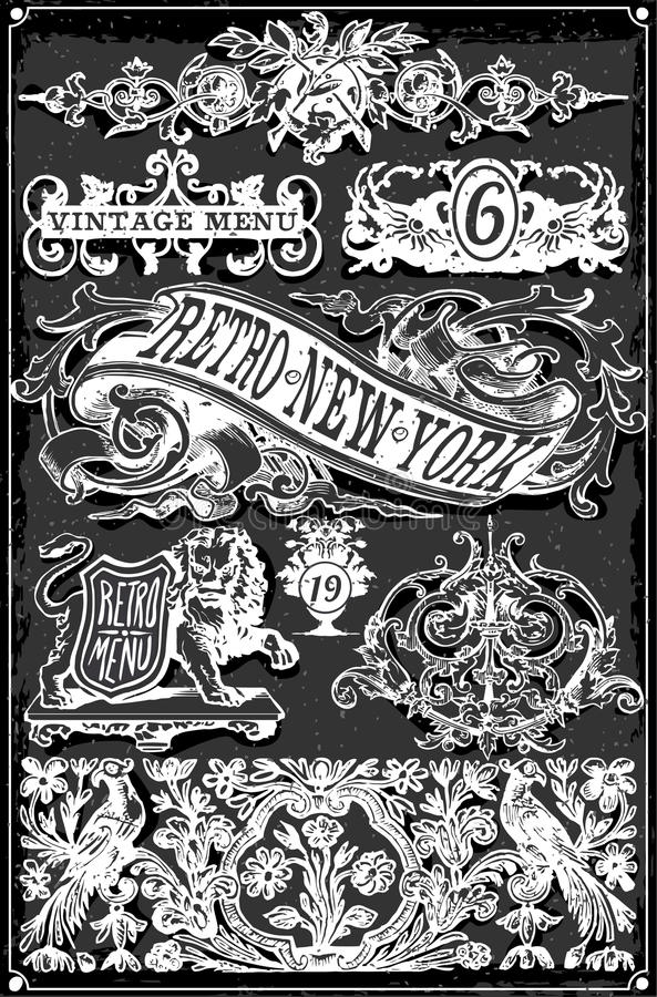 Bannières et labels tirés par la main de tableau noir de vintage illustration de vecteur