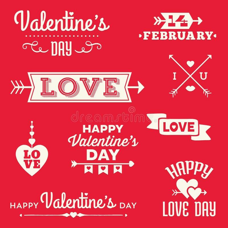 Bannières et messages typographiques de jour de valentines de hippie illustration libre de droits