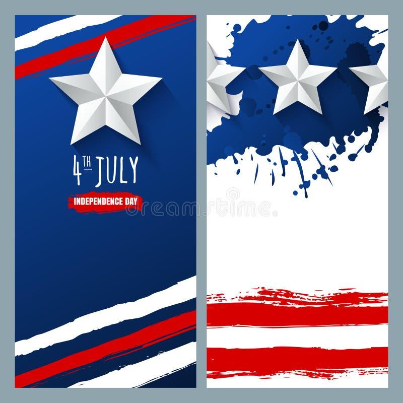Bannières et milieux d'aquarelle de vecteur le 4ème juillet, Jour de la Déclaration d'Indépendance des Etats-Unis illustration libre de droits