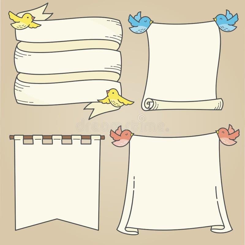 Bannières et oiseaux illustration stock