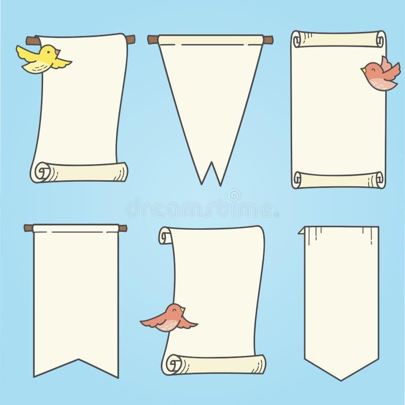 Bannières et oiseaux verticaux illustration de vecteur