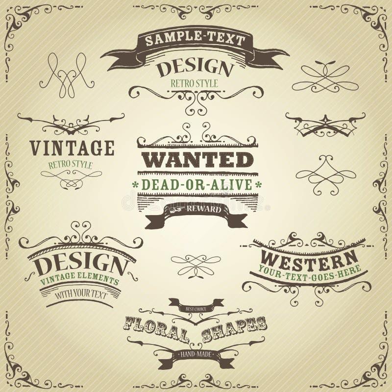 Bannières et rubans occidentaux tirés par la main illustration stock