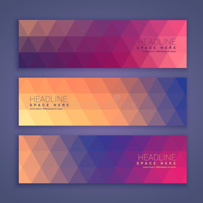 Bannières géométriques abstraites de forme réglées illustration de vecteur