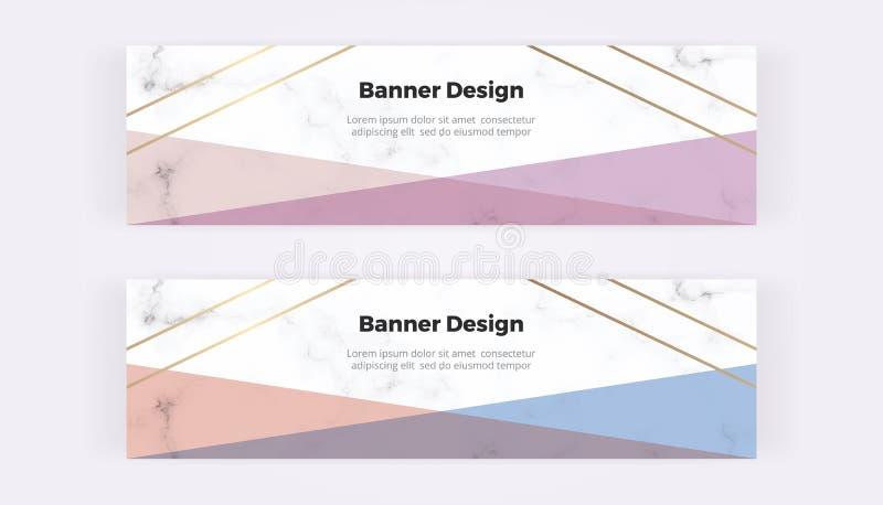 Bannières géométriques de Web avec le rose, le bleu et les triangles et les lignes d'or sur la texture de marbre Calibres moderne images stock