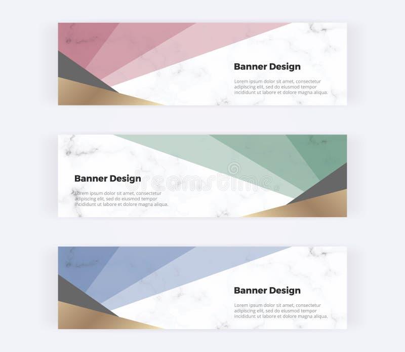 Bannières géométriques de Web avec les triangles rouges, vertes, bleues et d'or sur la texture de marbre Calibres modernes pour l illustration libre de droits