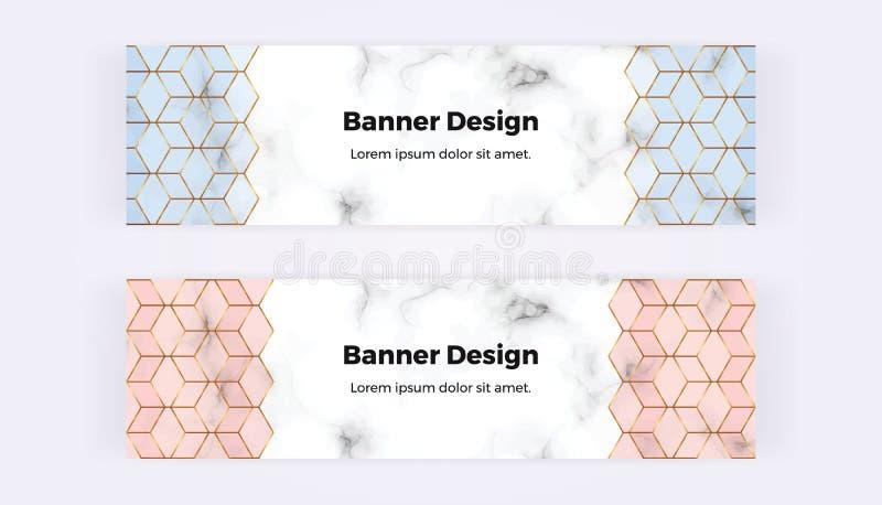 Bannières géométriques modernes de Web avec la texture et le rose de marbre, formes bleues d'hexagones avec les lignes d'or Calib illustration de vecteur