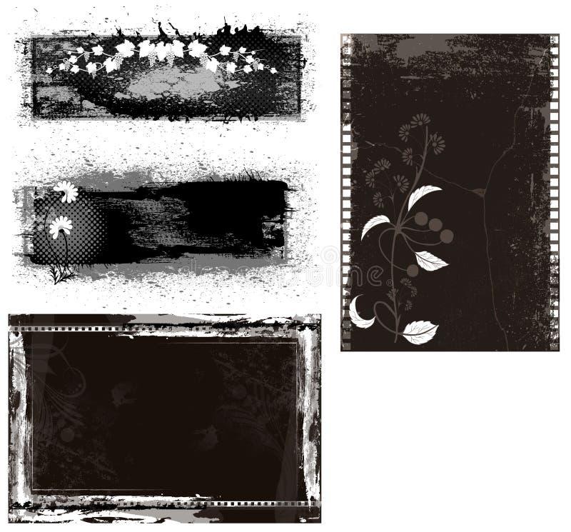 Bannières grunges et milieux illustration stock