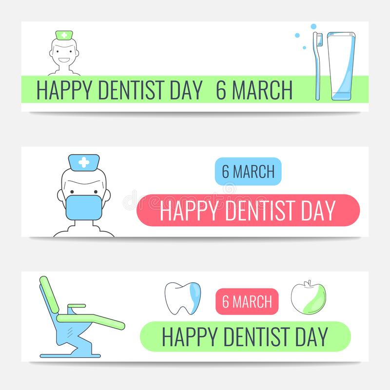 Bannières heureuses de Day de dentiste illustration libre de droits