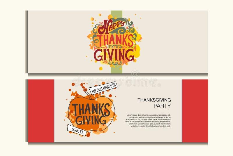 Bannières heureuses de thanksgiving avec l'icône, logo/insigne illustration stock