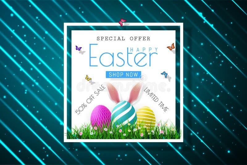 Bannières heureuses de vente de Pâques avec les oreilles réalistes du ` s de rabbir de Pâques, vecteur illustration de vecteur