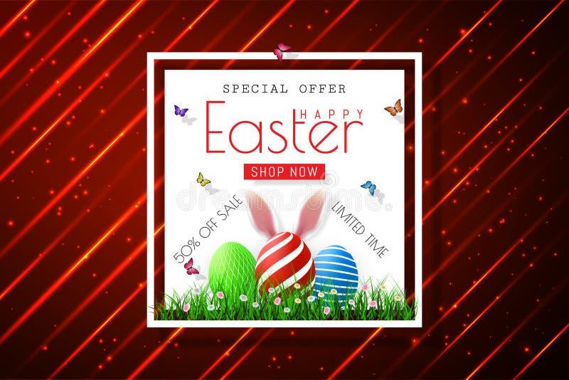 Bannières heureuses de vente de Pâques avec les oreilles réalistes du ` s de rabbir de Pâques, vecteur illustration libre de droits