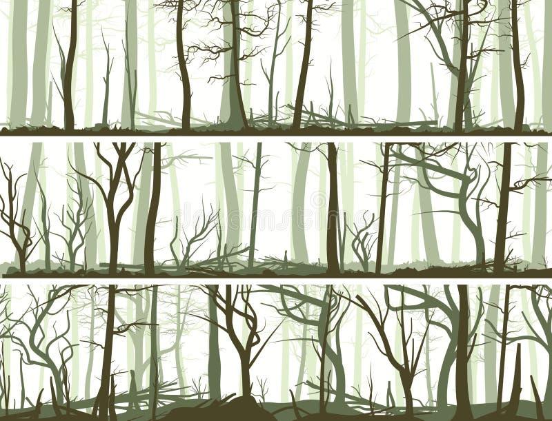 Bannières horizontales avec beaucoup de troncs d'arbre. illustration libre de droits