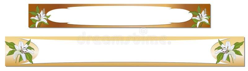 Bannières horizontales avec des fleurs du lis blanc sur un fond d'or Vecteur illustration stock