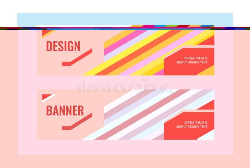 Bannières horizontales avec la ligne lumineuse bleue et multicolore Fond abstrait de vecteur illustration libre de droits