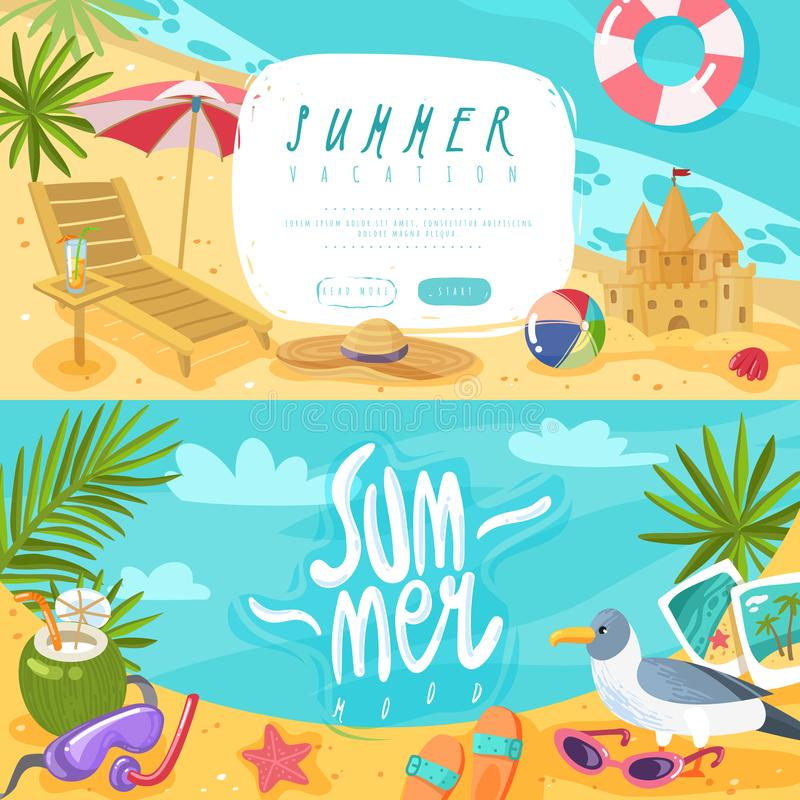 Bannières horizontales d'articles de vacances d'été illustration de vecteur