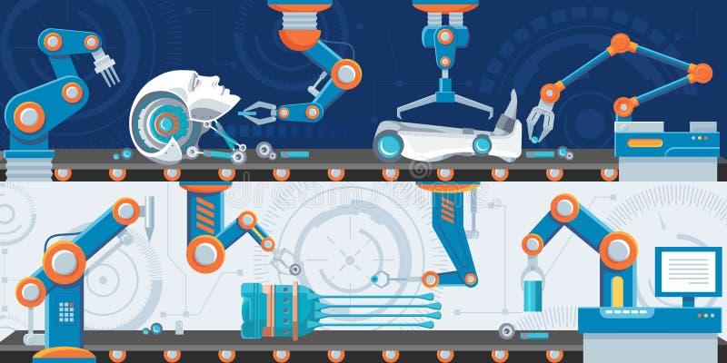 Bannières horizontales d'automation industrielle illustration libre de droits