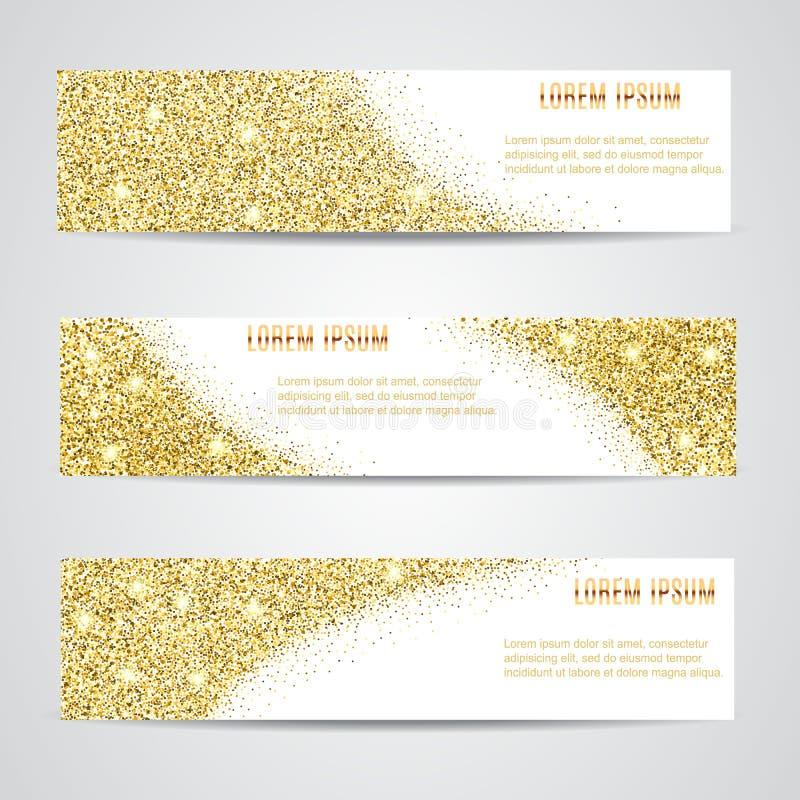 Bannières horizontales d'or réglées illustration de vecteur