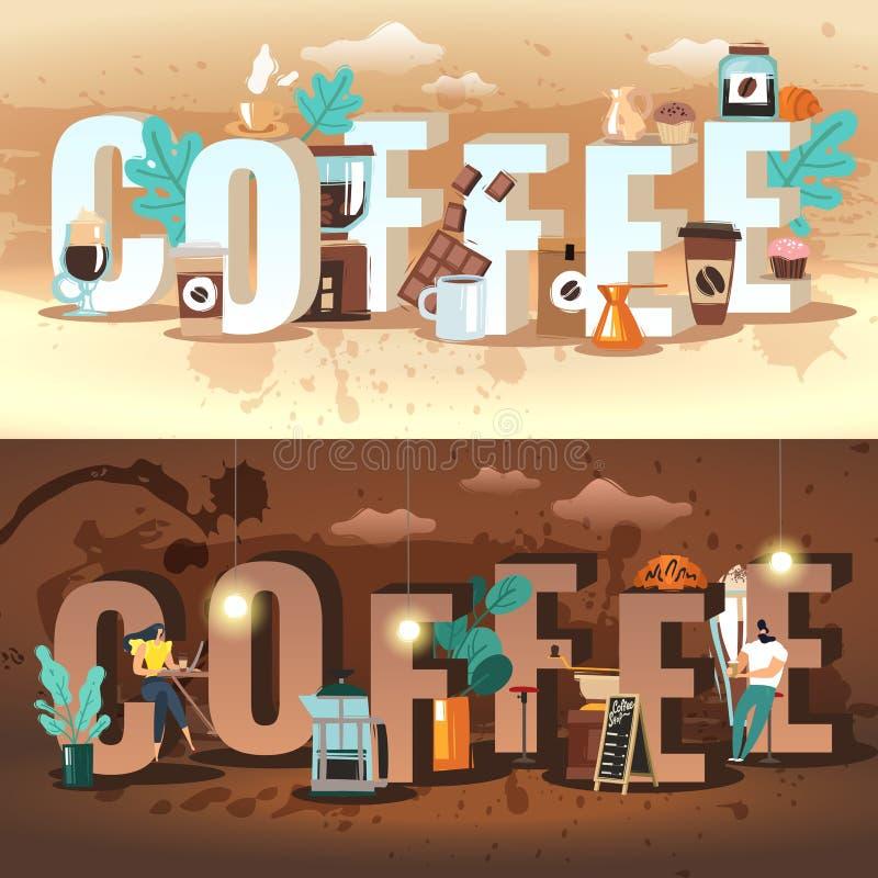 Bannières horizontales de café illustration stock