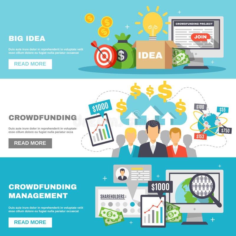 Bannières horizontales de Crowdfunding illustration libre de droits