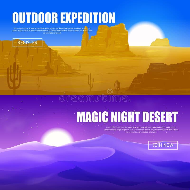 Bannières horizontales de désert illustration de vecteur