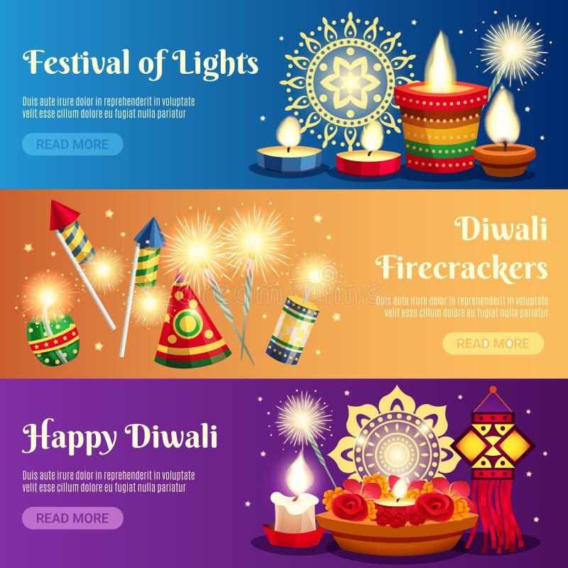 Bannières horizontales de Diwali illustration de vecteur