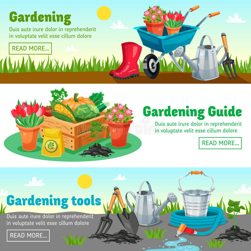 Bannières horizontales de jardinage illustration stock