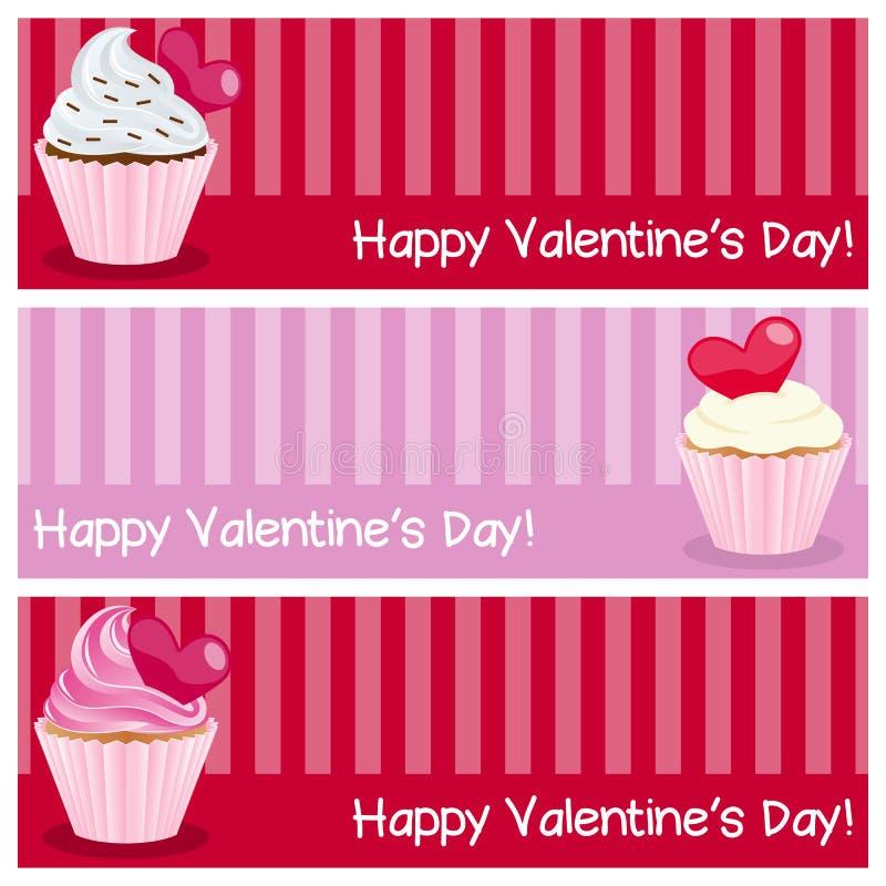 Bannières horizontales de jour de Valentine s illustration stock