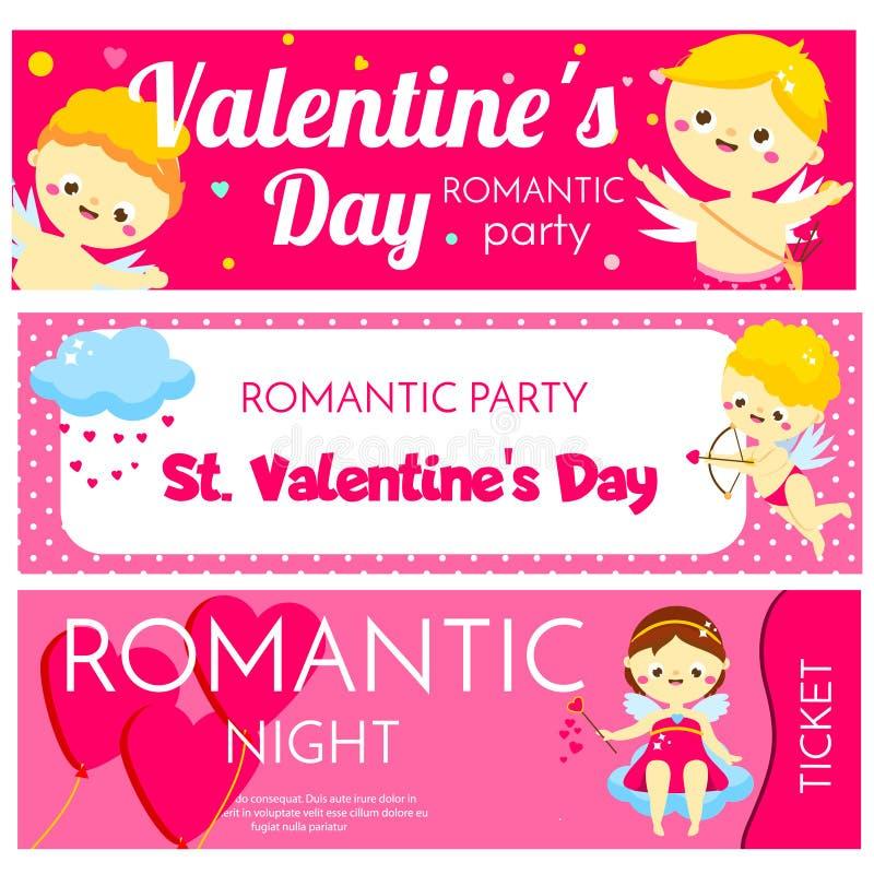 Bannières horizontales de jour de valentines Invitations, insectes avec les caractères mignons de cupidons de bande dessinée Prom illustration stock
