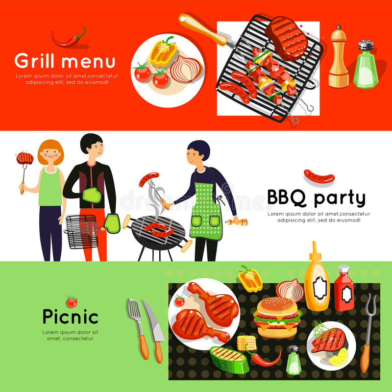Bannières horizontales de la partie 3 de barbecue réglées illustration libre de droits