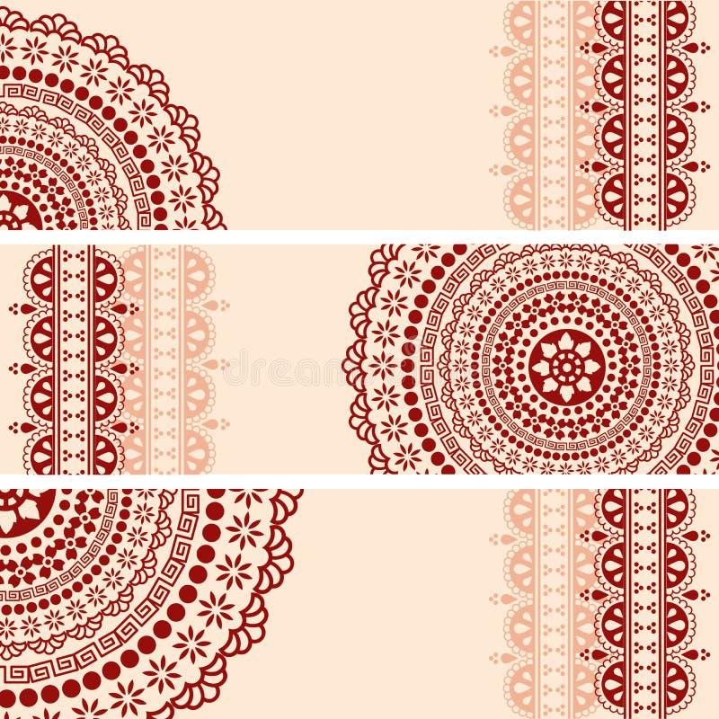 Bannières horizontales de mandala oriental de henné de Bourgogne et de crème illustration de vecteur