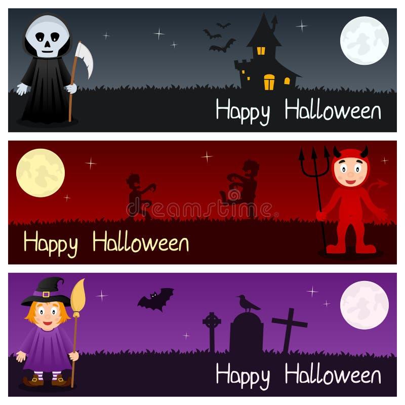 Bannières horizontales de monstres de Halloween [2] illustration libre de droits