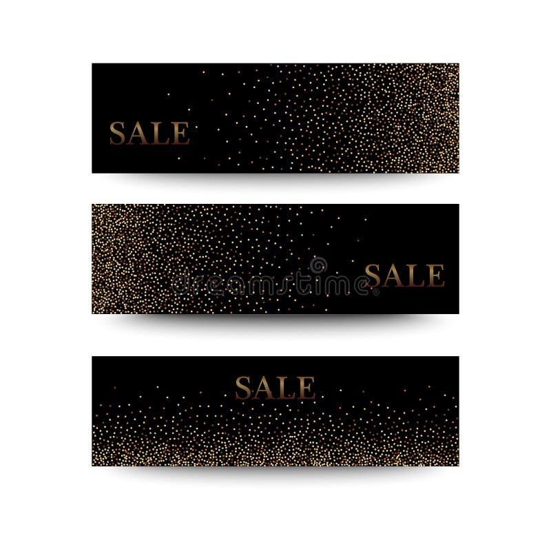 Bannières horizontales de noir et d'or réglées, saluant le design de carte La poussière d'or illustration libre de droits
