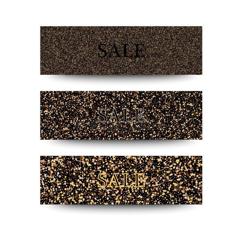 Bannières horizontales de noir et d'or réglées, saluant le design de carte La poussière d'or illustration de vecteur